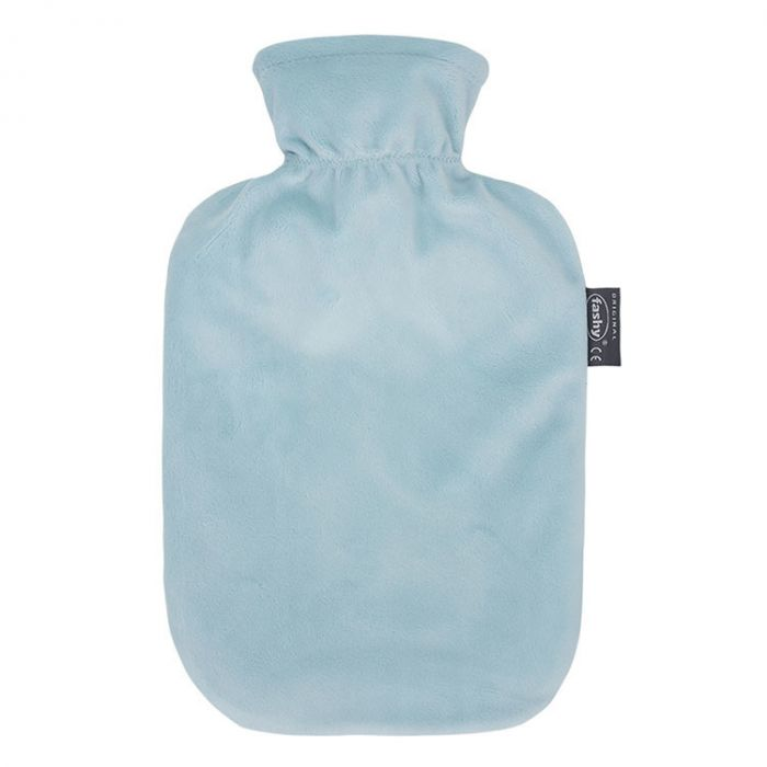 Fashy warmwaterkruik, velours hoes, pastelblauw, 2L